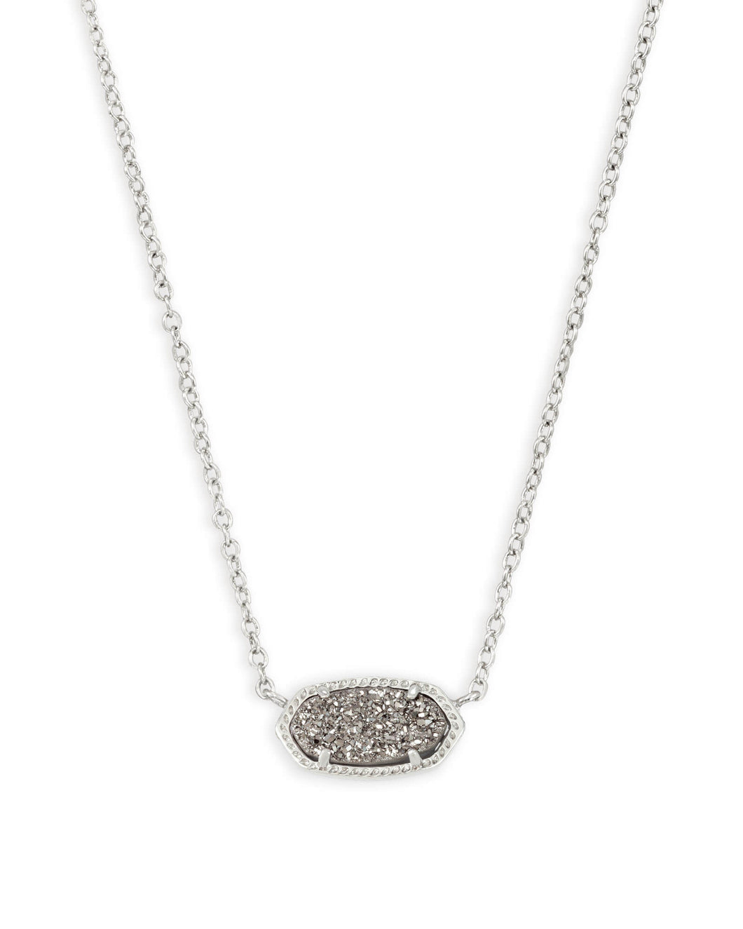 Kendra Scott Elisa Silver Pendant Necklace in Platinum Druzy