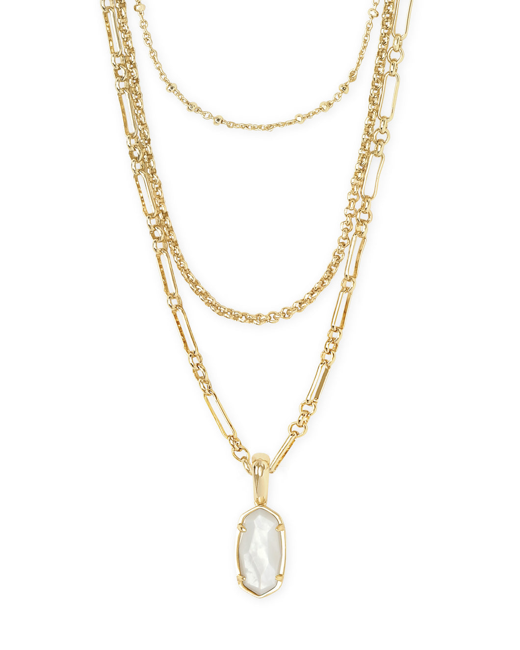 Elisa Gold Triple Strand Necklace in Ivory Mother of Pearl