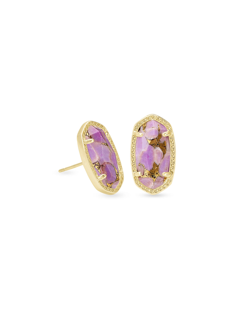 Kendra Scott Ellie Gold Stud Earrings in Lilac