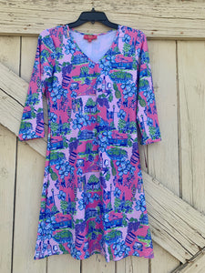Pink Kaeli Smith 3/4 Sleeve Dress