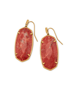 Kendra Scott Faceted Elle Vintage Gold Drop Earrings in Burnt Sienna Howlite