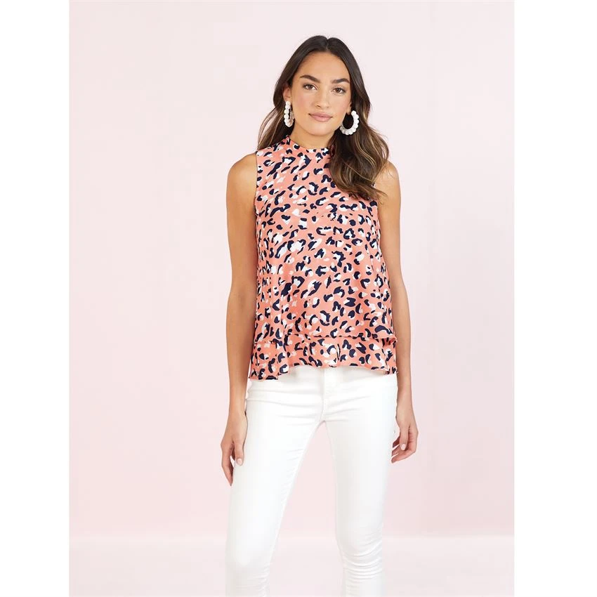 Mudpie Eleanor Leopard Peach Top