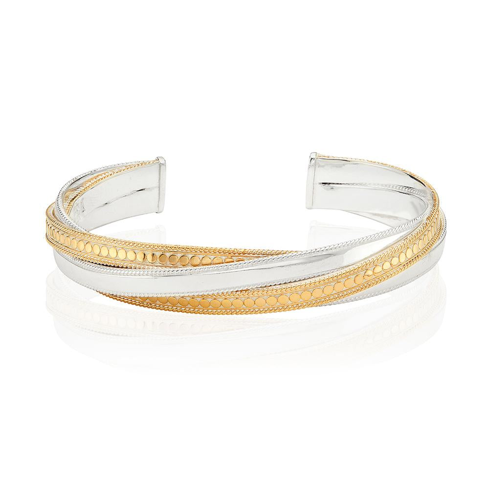 Anna Beck Mixed Metal Twisted Cuff in Gold & Silver