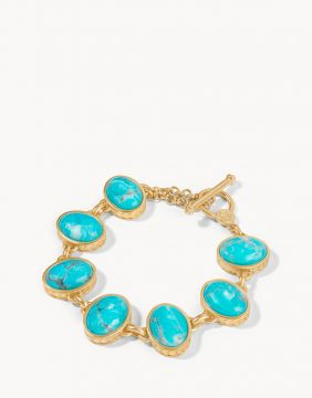 Spartina Naia Oval Toggle Bracelet in Gold Turquoise