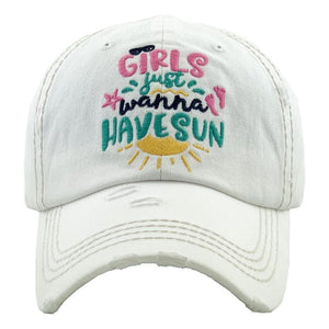 Girls Just Wanna Have Sun Hat White