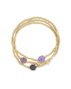 Kendra Scott Gold Bracelet set of 3 in Purple Mix