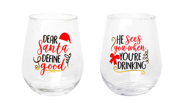 Stemless Printed Wine Glass 2pk