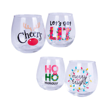 STEMLESS PRINTED WINE GLASS 4PK