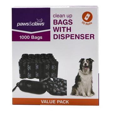 DISPENSER & CLEAN UP BAGS 1000 BAGS (50 ROLLS)