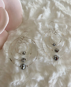 3 Dimensional Beaded Hoops Gray