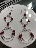 Double Circle Beaded Red