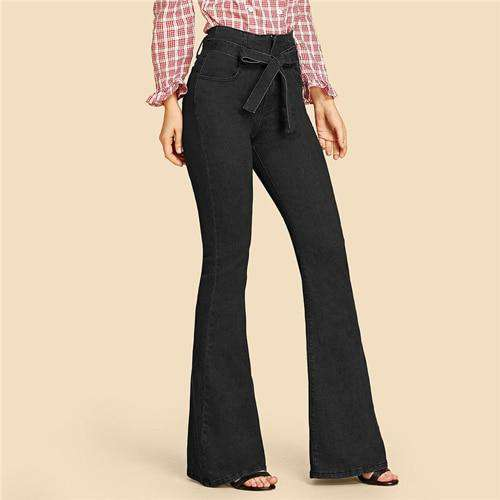Navy High Waist Vintage Long Flare Leg Belted Jeans - fashiontweaks.com
