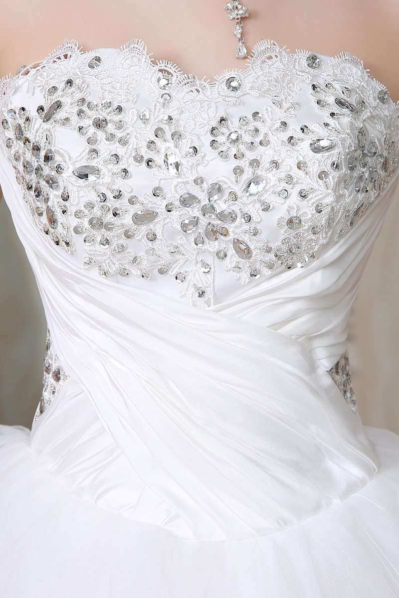 Full Crystal Long wedding dress - fashiontweaks.com