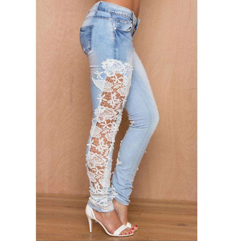 Lace Floral Side Spliced Stretch Denim Trousers - fashiontweaks.com
