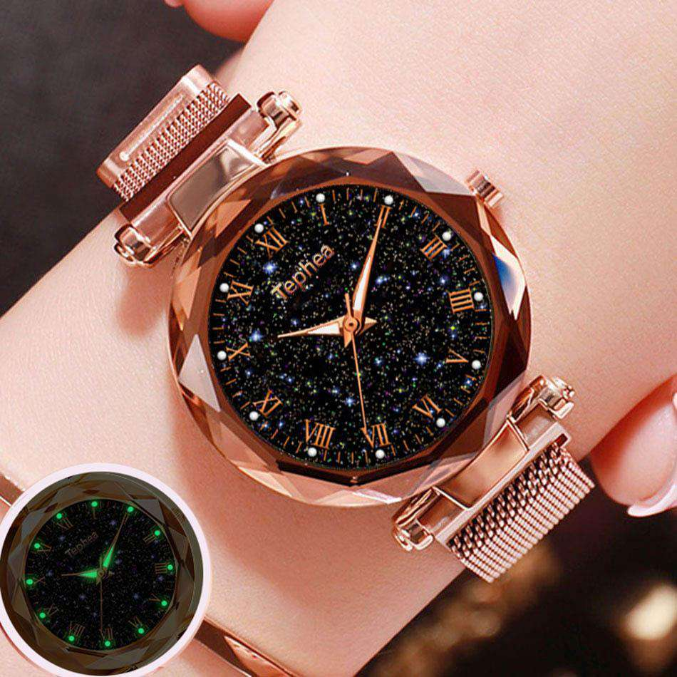 Ladies Wrist Watch Starry Sky Magnetic Women Watch Luminous Luxury