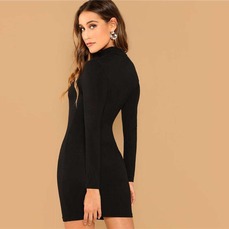 Lady Solid Bodycon  Dress - fashiontweaks.com