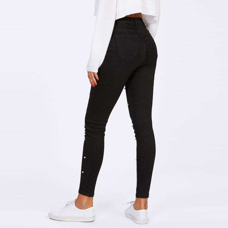 Women Jeans Pants Skinny Pearl Beaded Front Jeans - fashiontweaks.com
