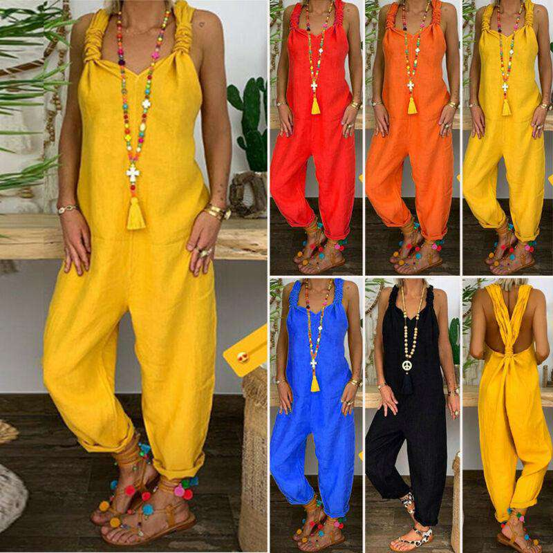 Women Summer Casual Sleeveless Jumpsuit - fashiontweaks.com