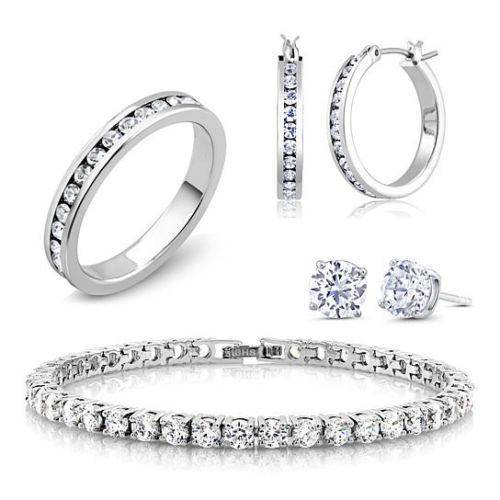 18K White Gold Plated and CZ Jewelry Set