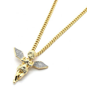 Flying Angel Micro-Pave Pendant Necklace in 14K Gold