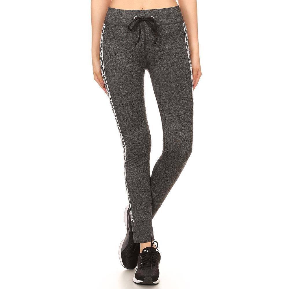 Women's Heather Charcoal Jogger Leggings W/ Abstract Side Pattern