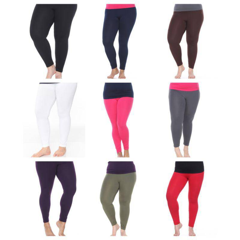 Women's Plus Size Super-Stretch Solid Leggings by Whitemark