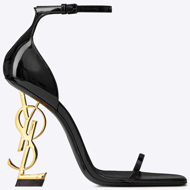 Sexy Womens Clubwear Peep Toe Patent Leather High Irregular Strange Heel - fashiontweaks.com