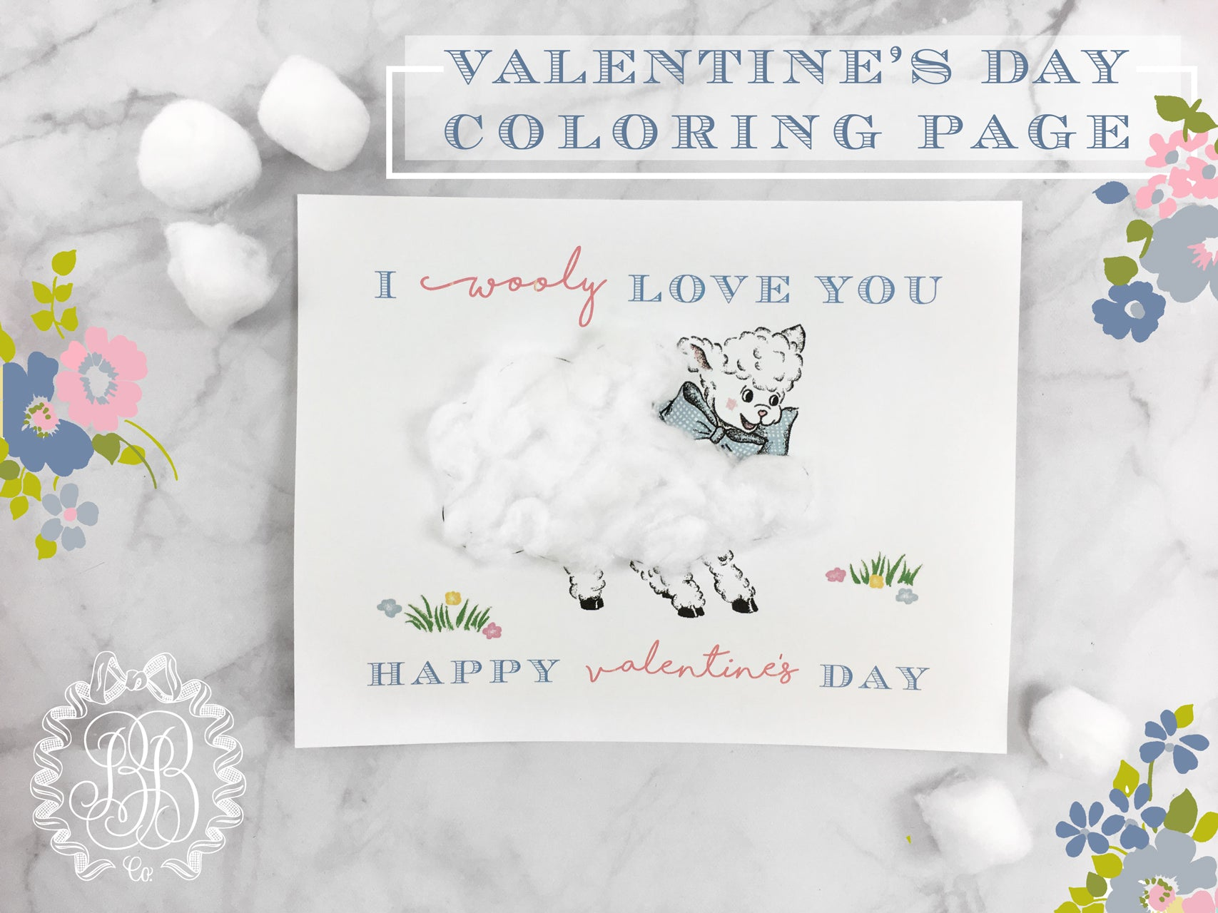 I Wooly Love You Valentine Coloring Page