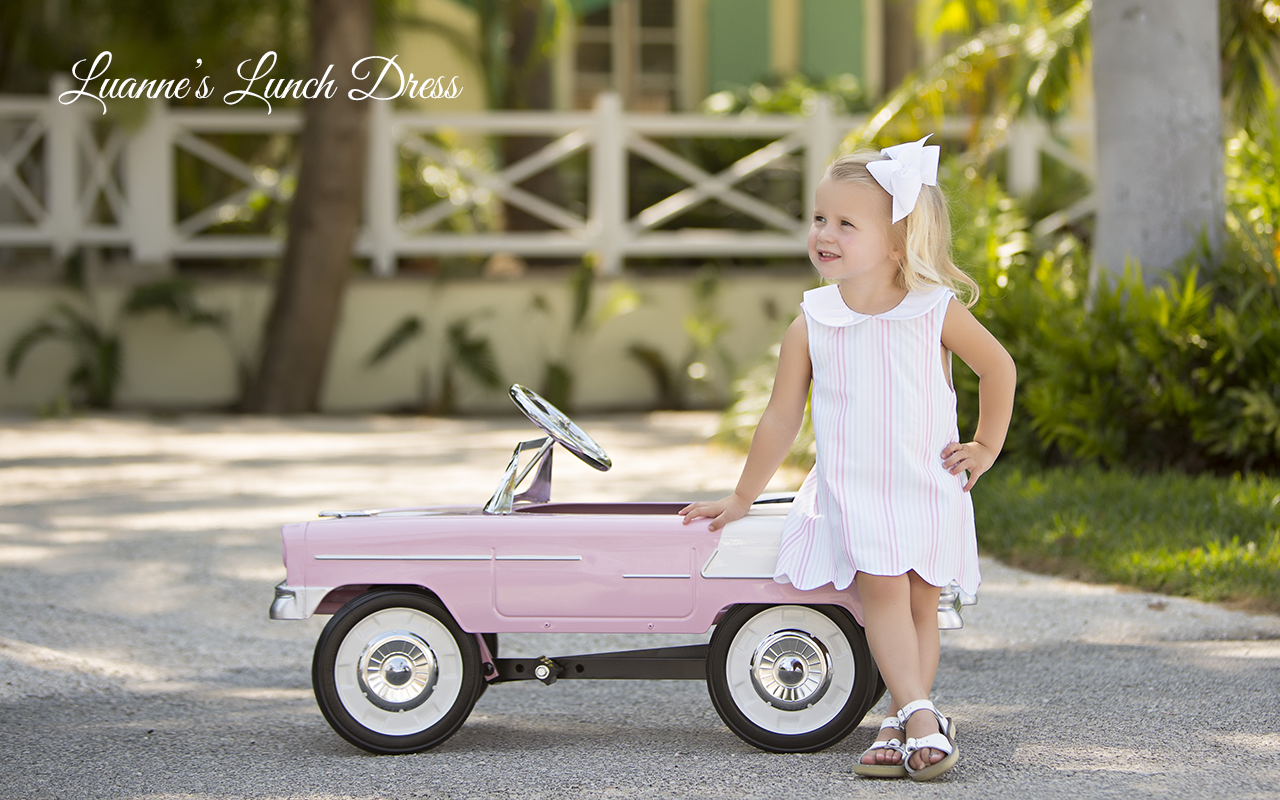 The Beaufort Bonnet Company | Spring 2017: Olde Florida Collection - Luanne's Lunch Dress in Seashore Stripe