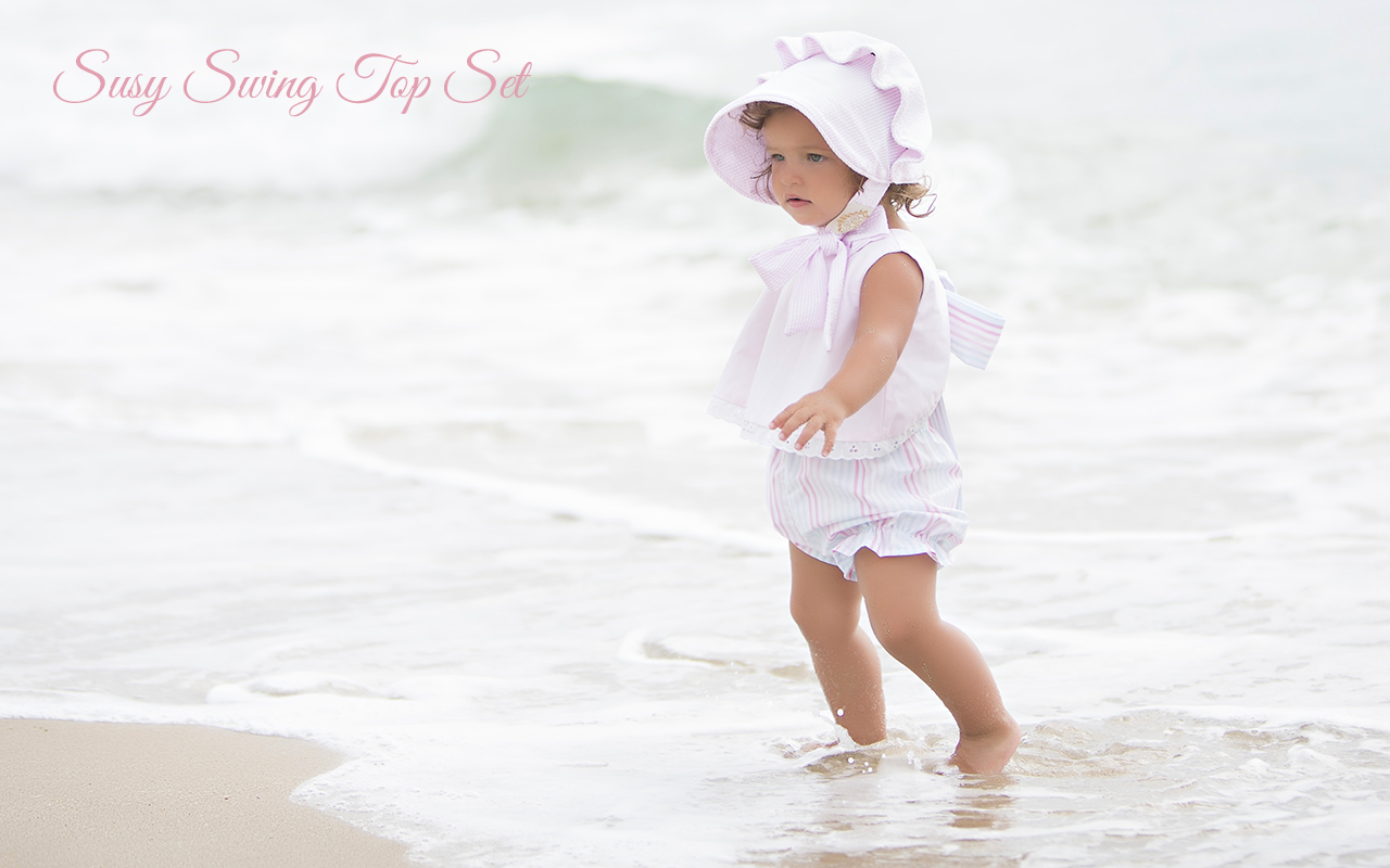 The Beaufort Bonnet Company   Spring 2017: Olde Florida Collection - Susy Swing Top Set in Plantation Pink with Seashore Stripe