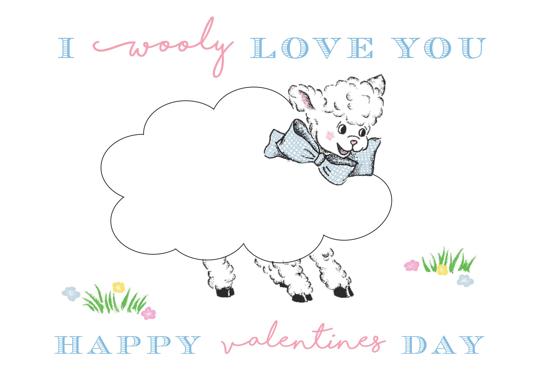 I Wooly Love You Valentine Coloring Page Template