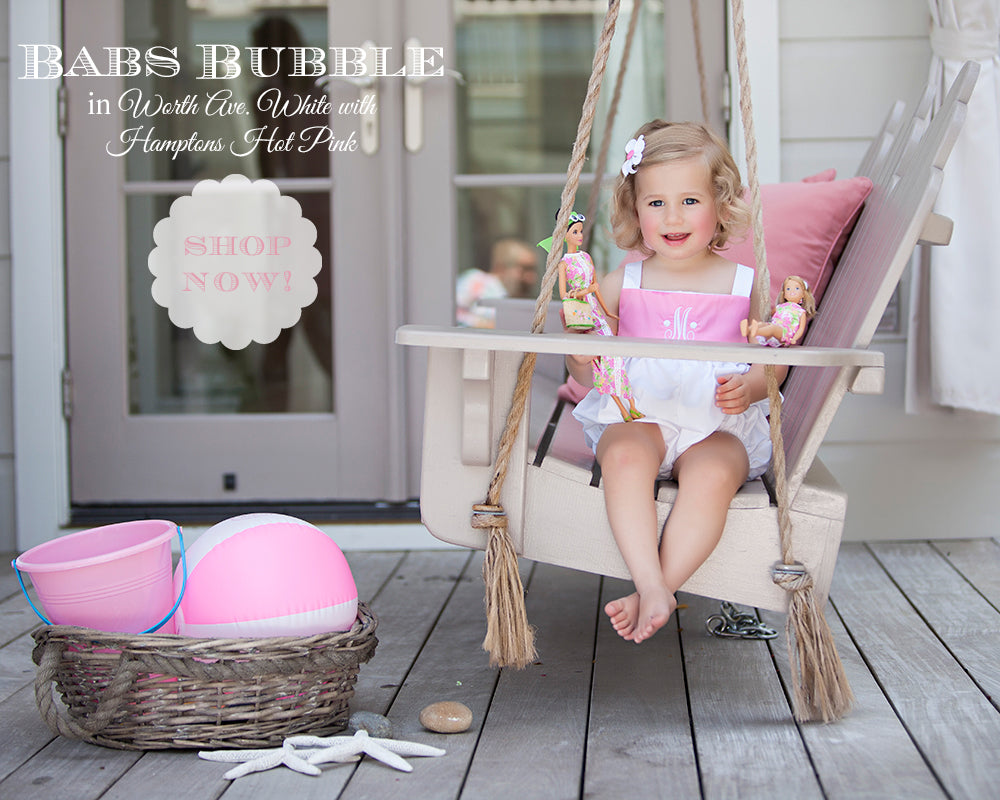 T.B.B.C. Babs Bubble in Worth Ave White with Hamptons Hot Pink