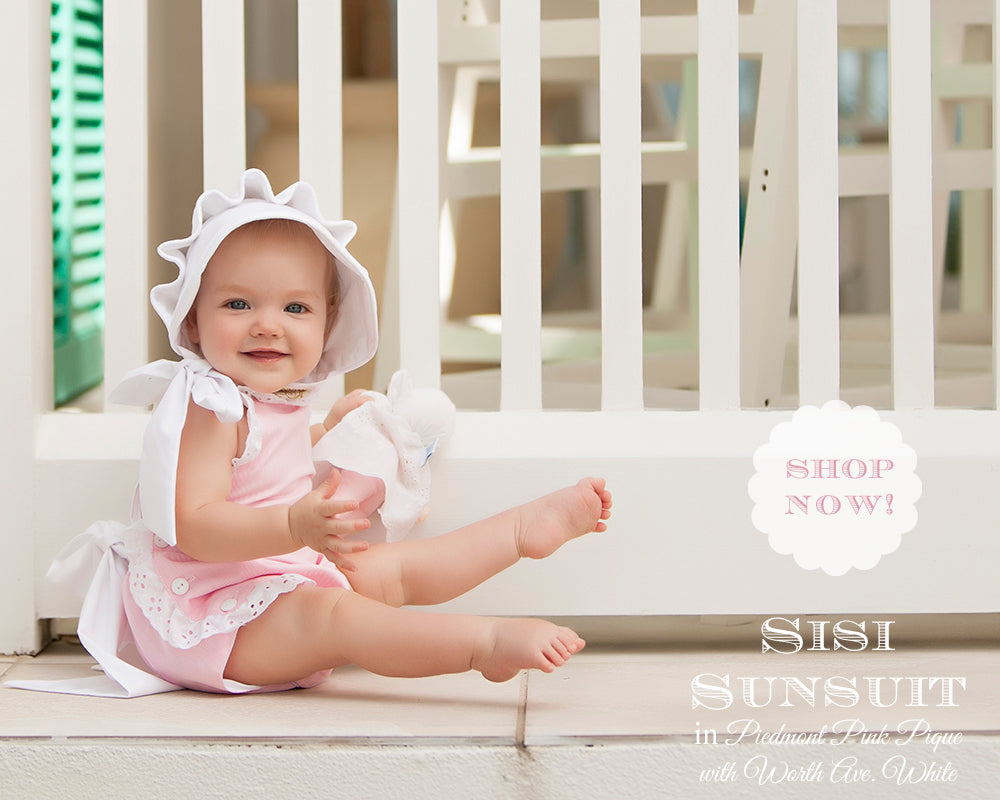 T.B.B.C. Sisi Sunsuit in Plantation Pink Pique with Worth Ave White