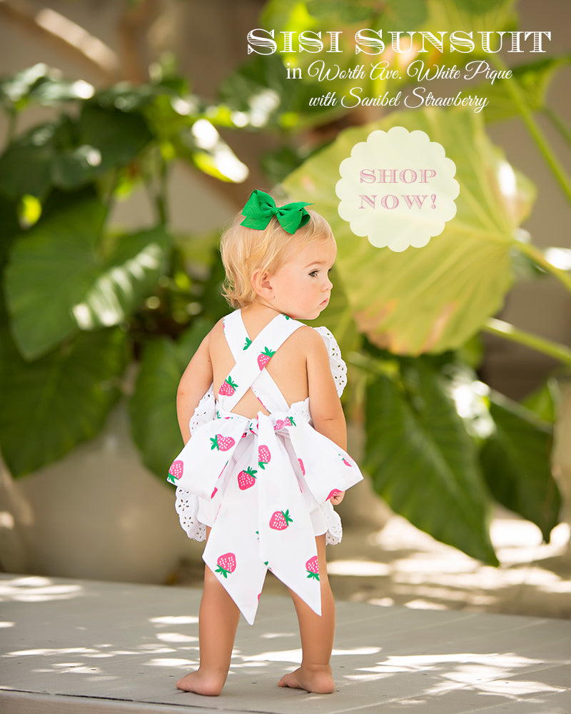 T.B.B.C. Sisi Sunsuit in Worth Ave White Pique with Sanibel Strawberry