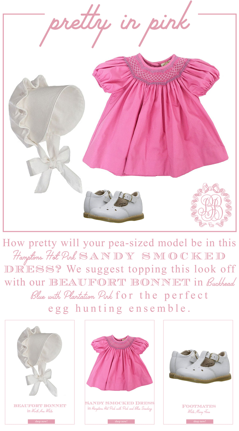 Easter Looks for Little Ladies: Sandy Smocked Dress with Beaufort Bonnet and Mary Janes