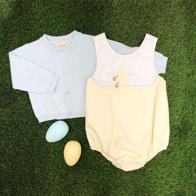 Sandler Sunsuit - Worth Avenue White & Bellport Butter Yellow with Duck Applique