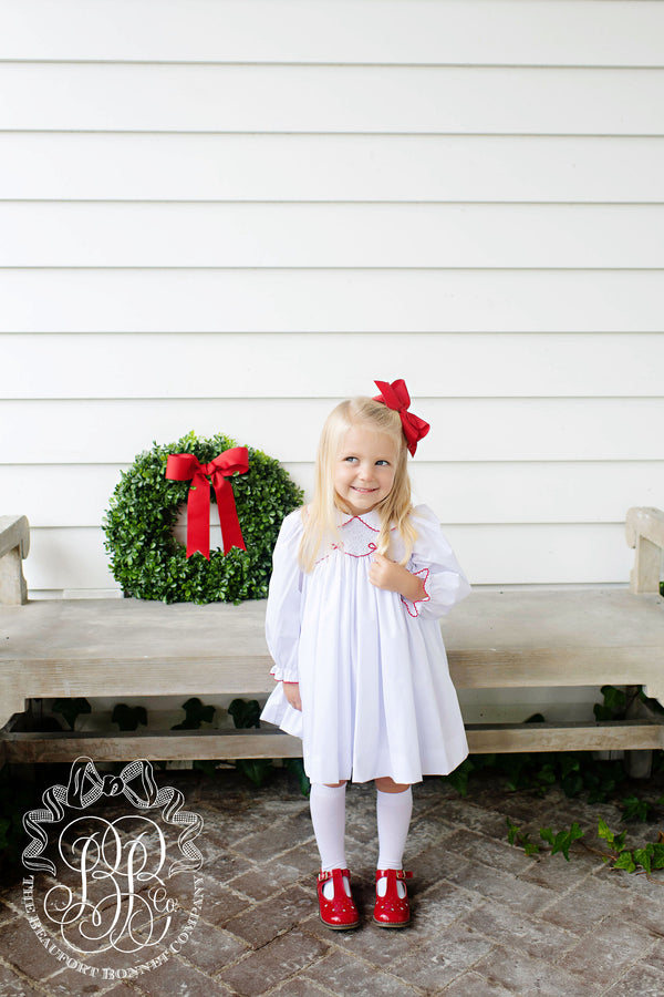Sybil Smocked Dress Worth Avenue White With Richmond Red