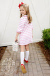 Petunia Play Dress - Plantation Pink Stripe with Richmond Red