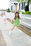 Annie Apron Dress - Grenada Green with Hamptons Hot Pink and Giraffe Applique