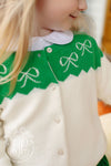 Izzy's Intarsia Cardigan - Palmetto Pearl and Kiawah Kelly Green with Bow Instarsia