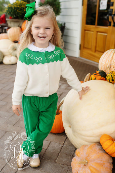 Girls Princeton Pants (Corduroy) - Kiawah Kelly Green