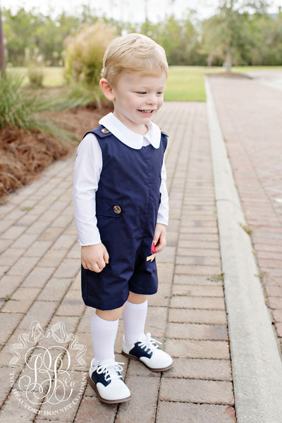 Jack Keene Jon Jon - Nantucket Navy with Cardinal Applique