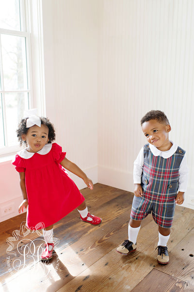 Holly Day Dress - Richmond Red Corduroy with Grand Teton Tartan and Worth Avenue White