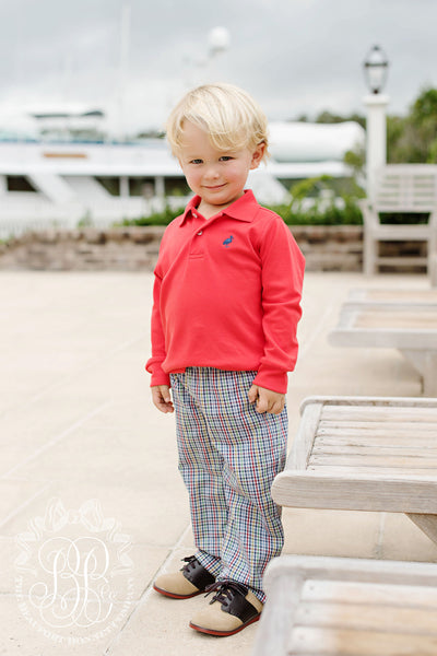Long Sleeve Prim & Proper Polo - Richmond Red with Nantucket Navy Stork