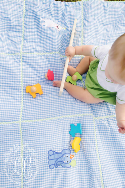 Payton Playmat - Park City Periwinkle Check and Party Animal Appliques