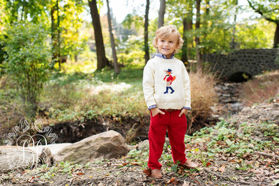 Prep School Pants (Corduroy) - Richmond Red with Nantucket Navy Stork