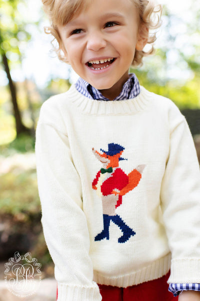 Isaac's Intarsia Sweater (Unisex) - Palmetto Pearl with Snooty Fox