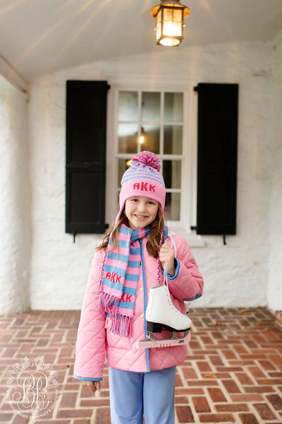 Kendall Quilted Coat - Hamptons Hot Pink with Park City Periwinkle