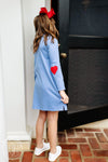 Millsie P. Polo Dress - Park City Periwinkle with Richmond Red Hearts and Stork