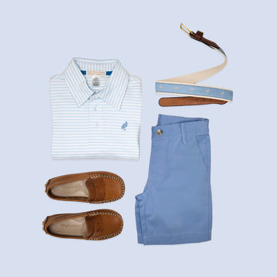 Prim & Proper Polo - Buckhead Blue Stripe with Park City Periwinkle